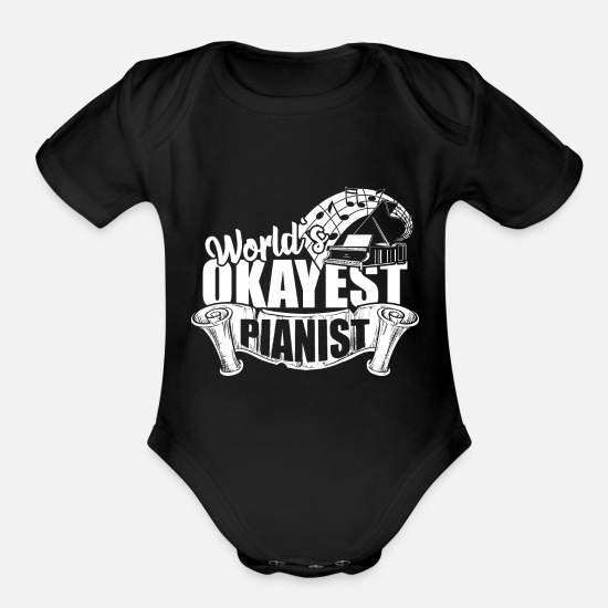 Jazz Baby Clothing - World okayest pianist - Organic Short-Sleeved Baby Bodysuit black