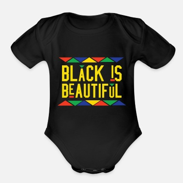 African American Black Is Beautiful (Yellow Letters) - Organic Short Sleeve Baby Bodysuit