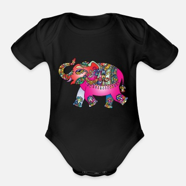 India Elephant Colour India - Organic Short-Sleeved Baby Bodysuit