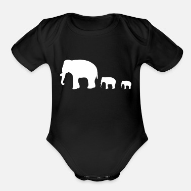 Group elephant group - Organic Short Sleeve Baby Bodysuit