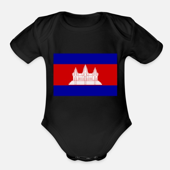 Cambodia Baby Clothing - cambodia - Organic Short-Sleeved Baby Bodysuit black