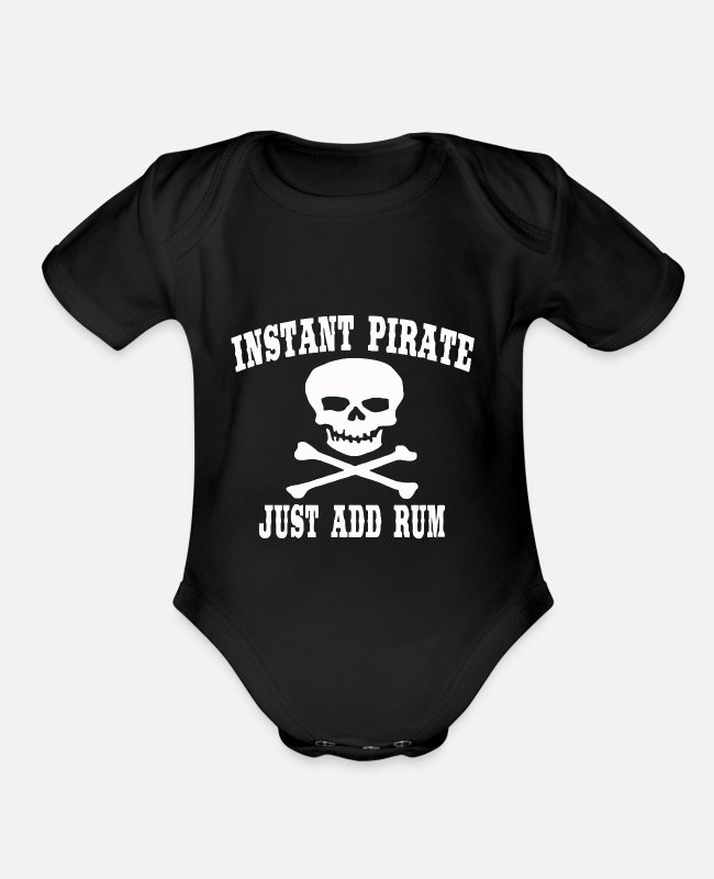 Couples Baby One Pieces - PIRATE joke - Organic Short-Sleeved Baby Bodysuit black
