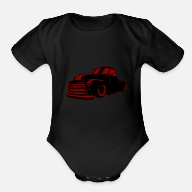 Burnout Vintage Cars Rat Rod - Organic Short Sleeve Baby Bodysuit