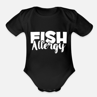 Allergy Awareness Fish Allergy - Food Allergies Awareness - Allergic - Organic Short-Sleeved Baby Bodysuit