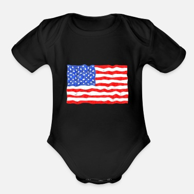 Stars and Stripes American Flag Distressed - Organic Short-Sleeved Baby Bodysuit