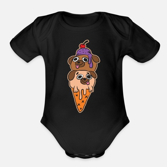 Ice Baby Clothing - Ice Cream - Organic Short-Sleeved Baby Bodysuit black