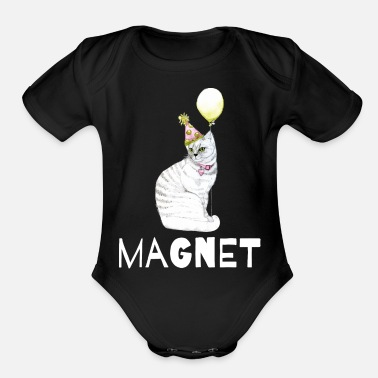 Pussy Unique Pussy Magnet Design! - Organic Short-Sleeved Baby Bodysuit