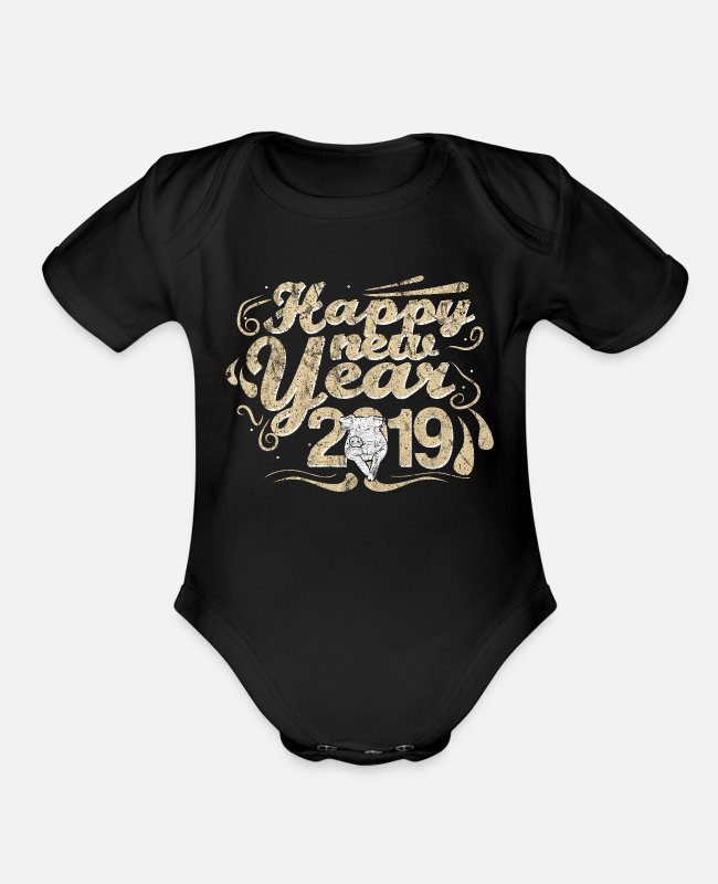 Calm Baby One Pieces - Holiday - Organic Short-Sleeved Baby Bodysuit black