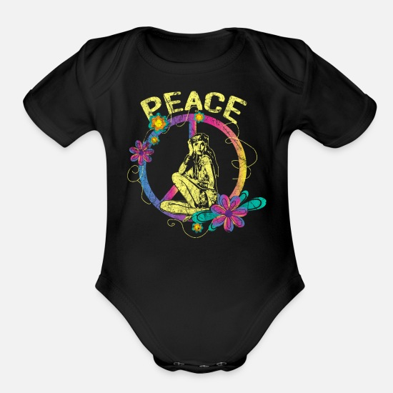 Peace Baby Clothing - Peace - Organic Short-Sleeved Baby Bodysuit black