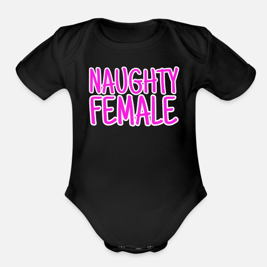 Female Hero Baby Clothing - naughty female - Organic Short-Sleeved Baby Bodysuit black
