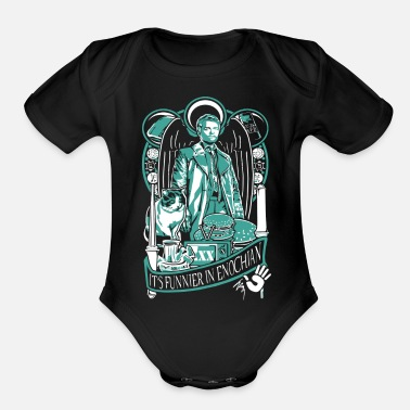 Miscellaneous Supernatural - It's funner in enochian - Organic Short-Sleeved Baby Bodysuit