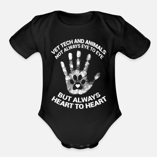 Love Baby Clothing - Vet tech - vet tech and animals not always eye to - Organic Short-Sleeved Baby Bodysuit black