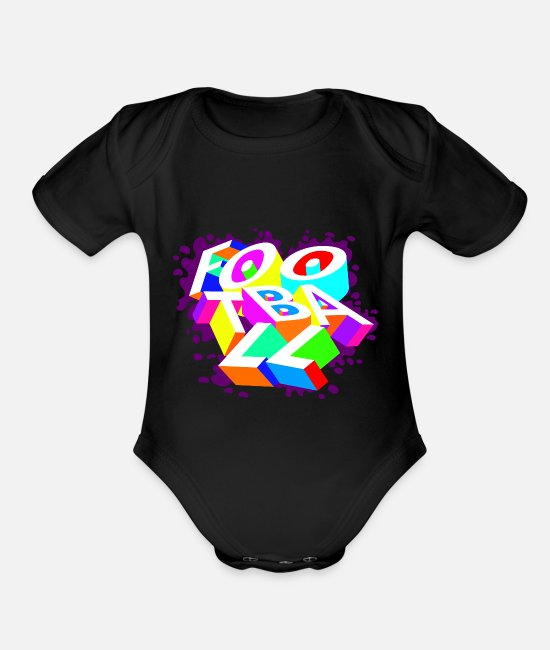 Football Cleats Baby One Pieces - football typography - Organic Short-Sleeved Baby Bodysuit black