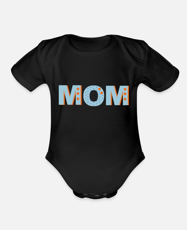 Mummy Baby One Pieces - Mom - Organic Short-Sleeved Baby Bodysuit black