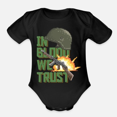 Ww1 In Blood We Trust, 80's Military pixel graphics - Organic Short Sleeve Baby Bodysuit