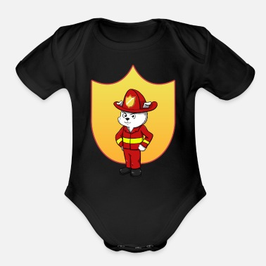 Little Father Firefighter Father Firefighter Paternity - Organic Short-Sleeved Baby Bodysuit