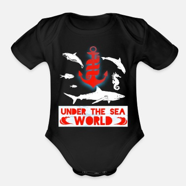 Sea sea sea creature sea dweller shark underwater - Organic Short-Sleeved Baby Bodysuit