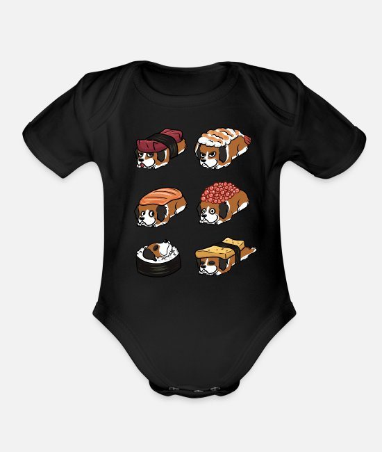 St Baby One Pieces - Saint Bernard Sushi Nigiri - Organic Short-Sleeved Baby Bodysuit black