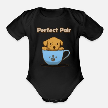 Puppy puppies - Organic Short-Sleeved Baby Bodysuit