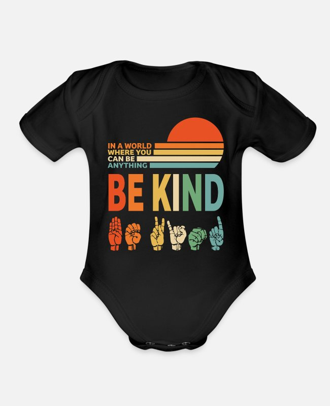 Social Baby One Pieces - Be Kind - Organic Short-Sleeved Baby Bodysuit black