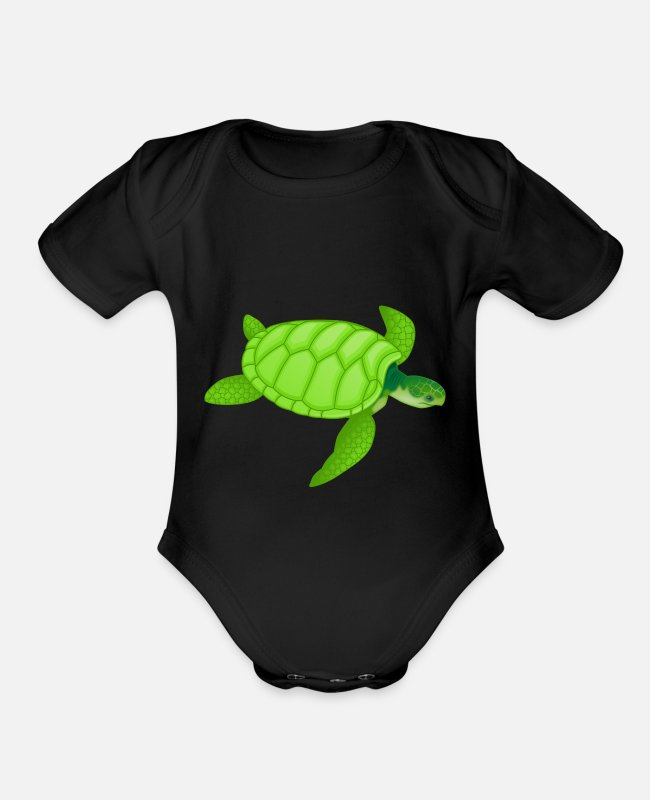 Clubbers Baby One Pieces - tortoise turle - Organic Short-Sleeved Baby Bodysuit black