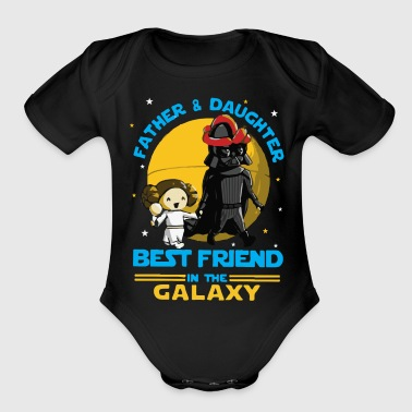 Father and Daughter in the Galaxy - Organic Short Sleeve Baby Bodysuit