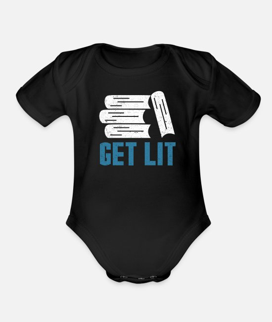 Read Baby One Pieces - Get Lit - Organic Short-Sleeved Baby Bodysuit black