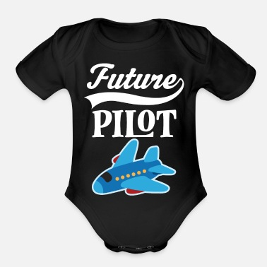 Pilot Future Pilot Childs Airplane Job Gift - Organic Short-Sleeved Baby Bodysuit