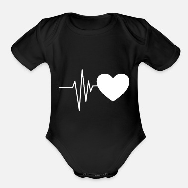 Heart Line Heart line / heartbeat with heart symbol - Organic Short-Sleeved Baby Bodysuit