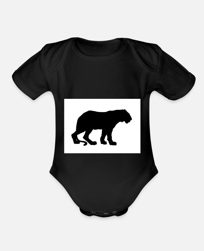 Wild Cat Baby One Pieces - tiger - Organic Short-Sleeved Baby Bodysuit black