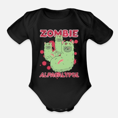 Scary Zombie Alpacalypse Halloween scary Apocalypse - Organic Short-Sleeved Baby Bodysuit