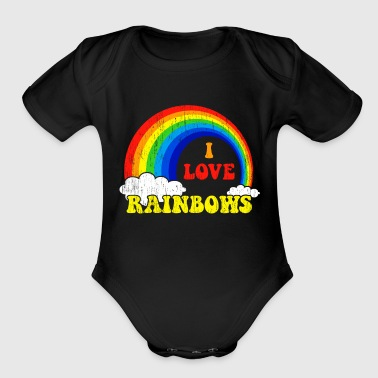 I Love Rainbows Statement gift kids christmas - Organic Short Sleeve Baby Bodysuit