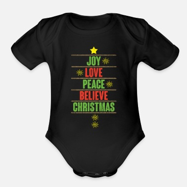 Peace Love Cruise Joy love peace believe Christmas gift - Organic Short-Sleeved Baby Bodysuit