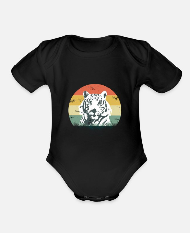 Wild Cat Baby One Pieces - tiger gift savannah Africa wilderness - Organic Short-Sleeved Baby Bodysuit black
