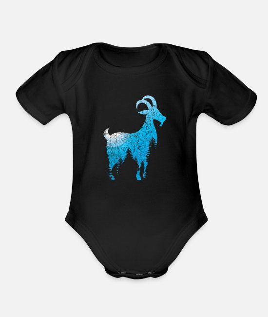 Grungy Baby One Pieces - Goat goat animal gift goat - Organic Short-Sleeved Baby Bodysuit black