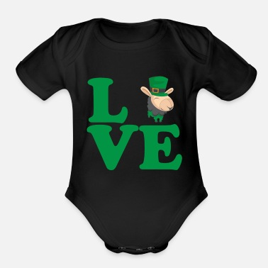 Culture St. Patrick's Day Gift Llama Alpaca Love - Organic Short Sleeve Baby Bodysuit