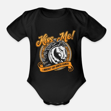 Show Jumping Horse Shirt - Horse Riding - Equestrian - Kiss me - Organic Short Sleeve Baby Bodysuit