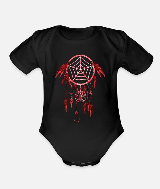 Native Baby One Pieces - Red Dream Catcher Native American Indian - Organic Short-Sleeved Baby Bodysuit black