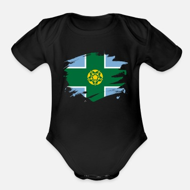 Derbyshire Derbyshire Flag Paint Splatter Design - Organic Short-Sleeved Baby Bodysuit