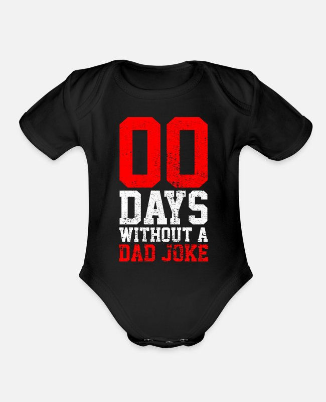 Father's Day Baby One Pieces - Dad Jokes - Organic Short-Sleeved Baby Bodysuit black