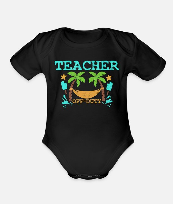 Travel Baby One Pieces - Teacher Summer Vacation Vintage - Organic Short-Sleeved Baby Bodysuit black