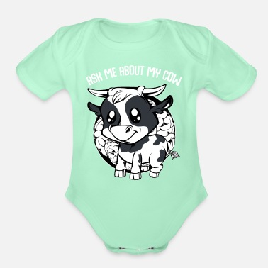 Cowboy Cow - Ask Me About My Cow - Funny Farmer Saying - Organic Short-Sleeved Baby Bodysuit