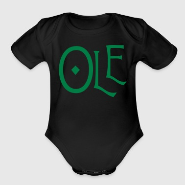 spanish word ole - Organic Short Sleeve Baby Bodysuit