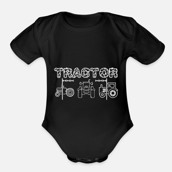 Tractor Baby Clothing - tractor pulling - Organic Short-Sleeved Baby Bodysuit black