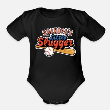 Baby Shower Grandpa's Little Slugger - Organic Short-Sleeved Baby Bodysuit