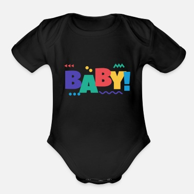 Baby | colourful cute writing - Organic Short-Sleeved Baby Bodysuit
