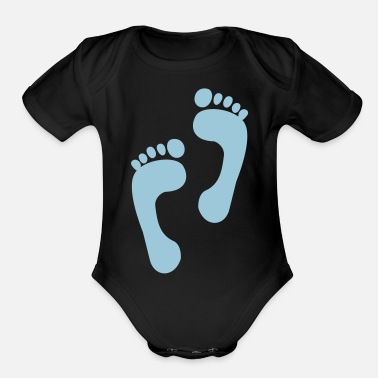 Foot foot - feet - foot print - Organic Short-Sleeved Baby Bodysuit