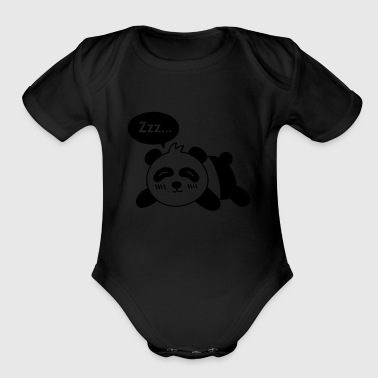 sleeping panda lying on floor - Organic Short Sleeve Baby Bodysuit