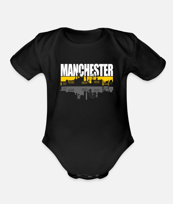 Manchester Baby One Pieces - Manchester - Organic Short-Sleeved Baby Bodysuit black