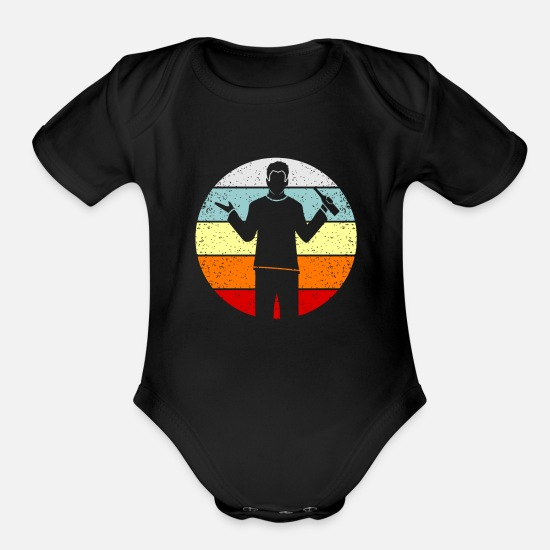 Party Baby Clothing - beer - Organic Short-Sleeved Baby Bodysuit black